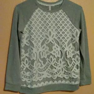Xhilaration gray and white lace front top